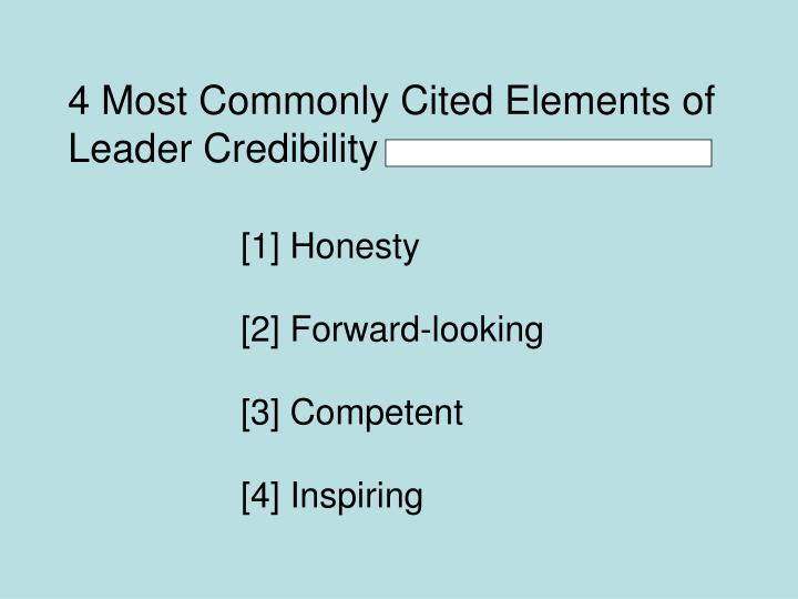 4 most commonly cited elements of leader credibility