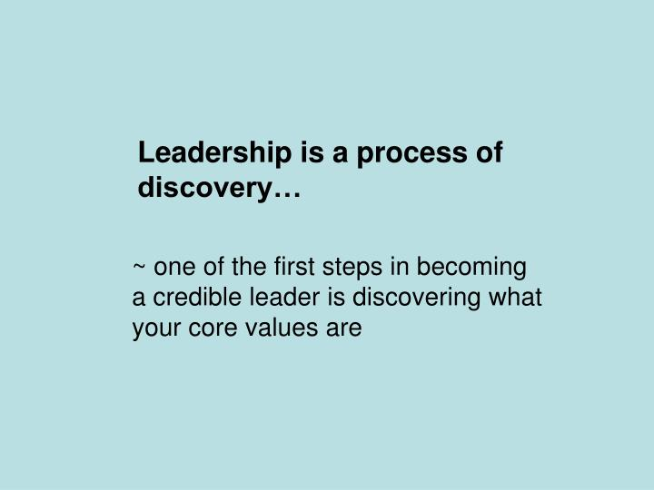 Leadership is a process of
