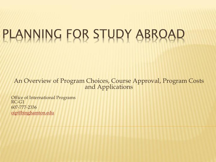 planning for study abroad n.