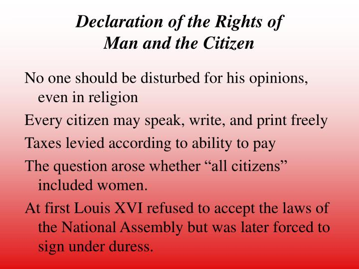 declaration of the rights of man and citizen history essay The declaration of rights of man  the declaration of the rights of man and of the citizen  essays related to magna carta vs declaration of the rights.
