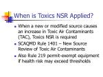 when is toxics nsr applied