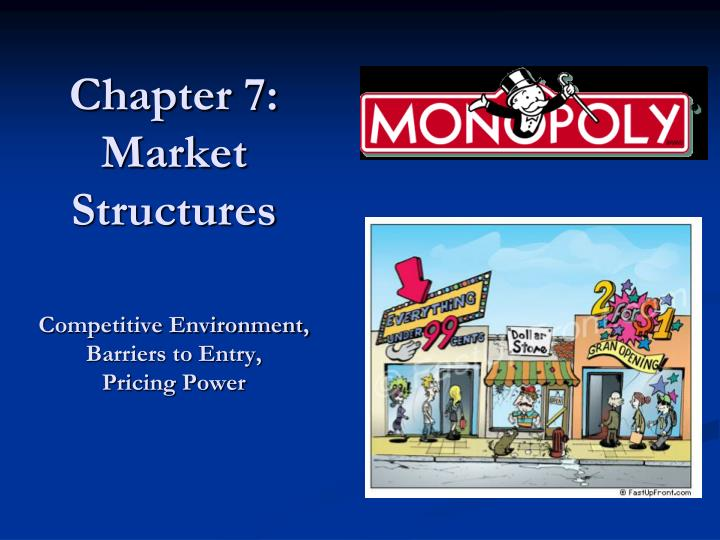 chapter 7 market structures competitive environment barriers to entry pricing power n.