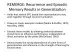 remerge recurrence and episodic memory results in generalization