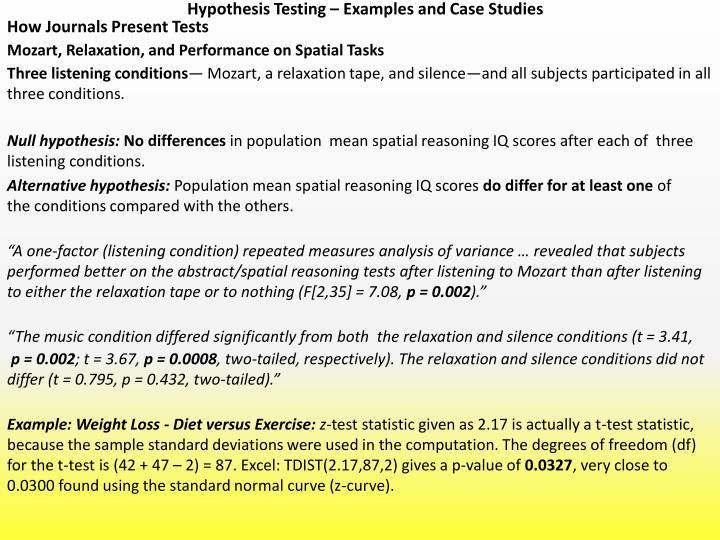 case study hypothesis example