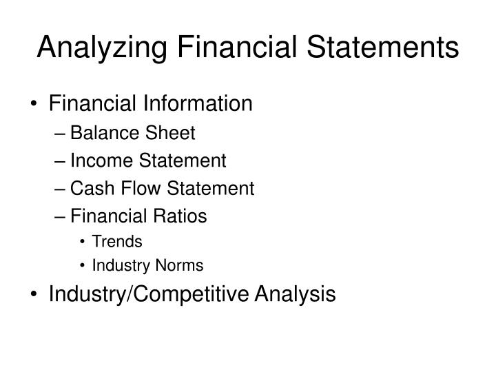 analyzing financial statements n.