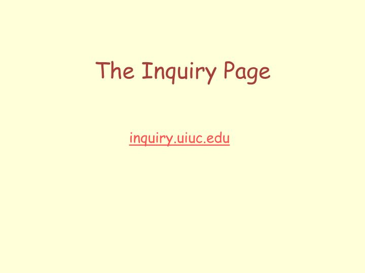 the inquiry page n.