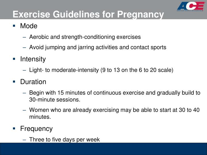 Exercise Guidelines for Pregnancy