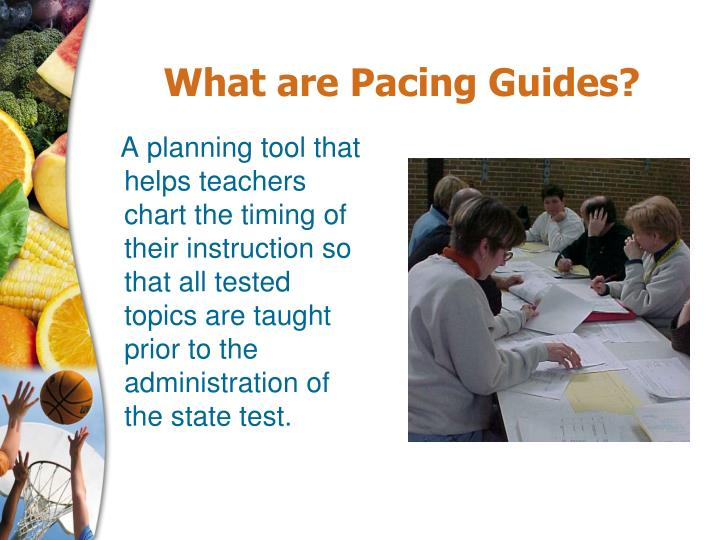A planning tool that helps teachers chart the timing of their instruction so that all tested topics are taught prior to the administration of the state test.