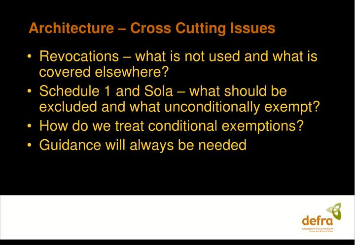 Architecture – Cross Cutting Issues