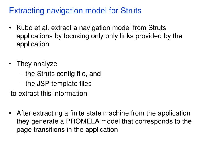 Extracting navigation model for Struts