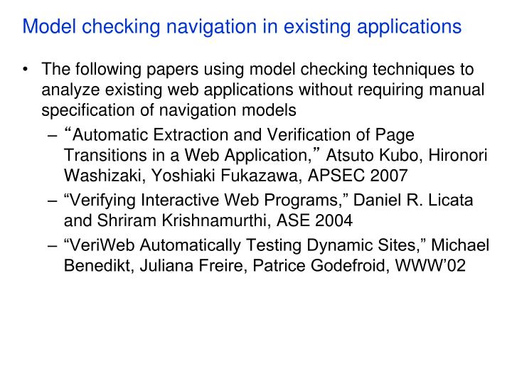 Model checking navigation in existing applications