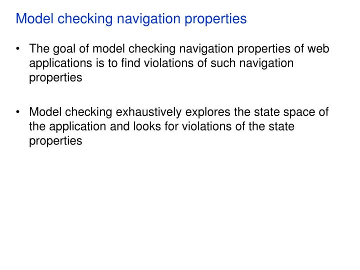 Model checking navigation properties