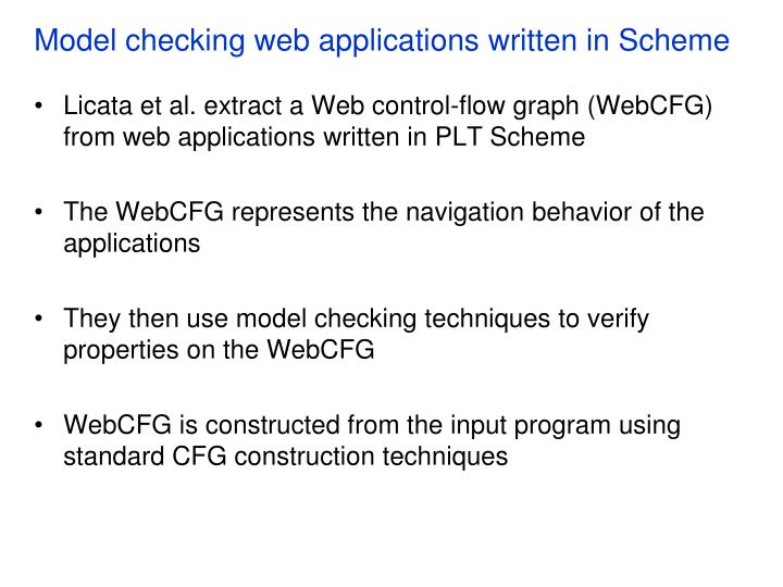 Model checking web applications written in Scheme