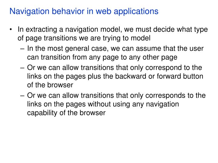 Navigation behavior in web applications