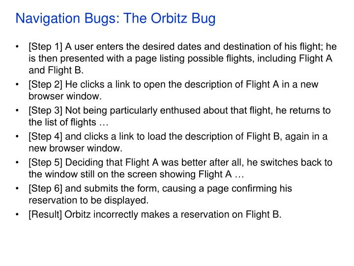 Navigation bugs the orbitz bug