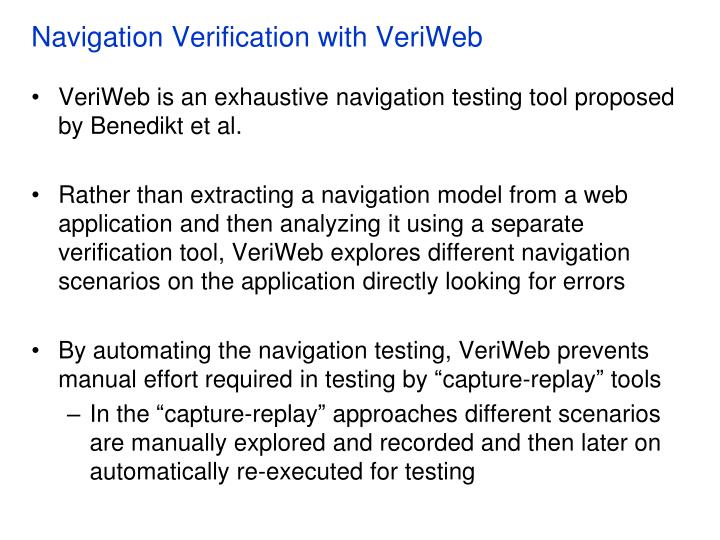 Navigation Verification with VeriWeb