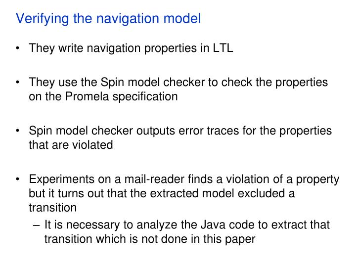 Verifying the navigation model