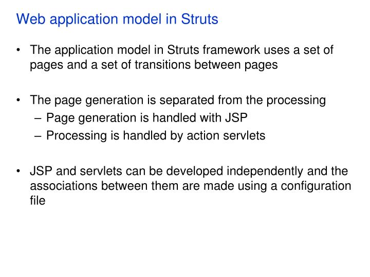 Web application model in Struts