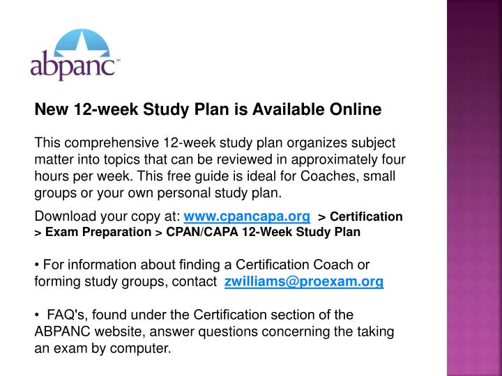 New 12-week Study Plan is Available