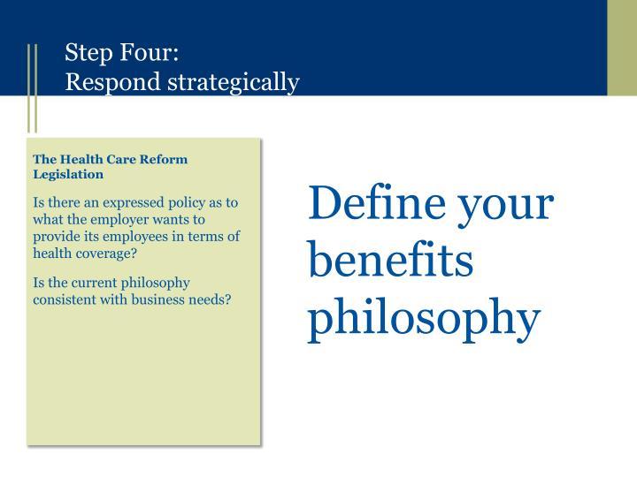 Define your benefits philosophy
