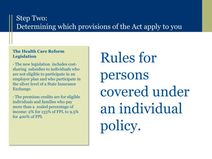 Rules for persons covered under an individual policy.