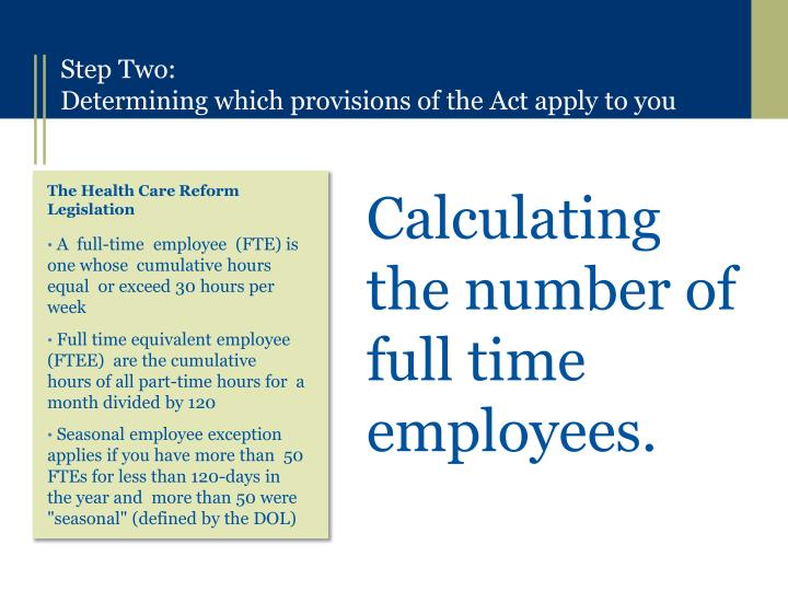 Calculating the number of full time employees.