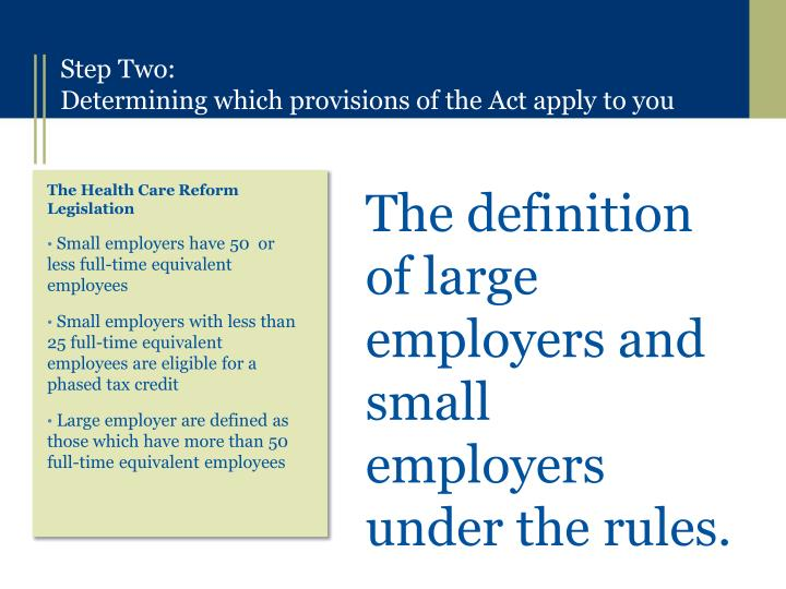 The definition of large employers and small employers under the rules.