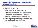 daylight basement ventilation considerations