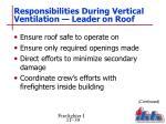 responsibilities during vertical ventilation leader on roof