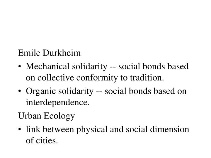 emile durkheim's notion of social solidarity Free coursework on a comparison of marx and durkheim from essayukcom, the uk essays company for essay, dissertation and coursework writing  for marx the division of labour and class conflict brought about social stratification, which resulted in alienation  (the emile durkheim archive, solidarity.