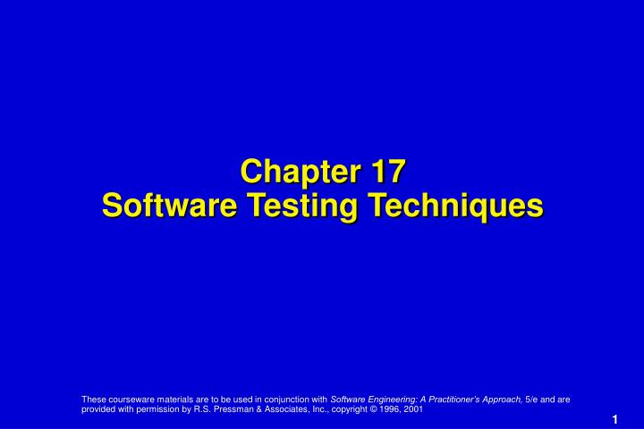 chapter 17 software testing techniques n.
