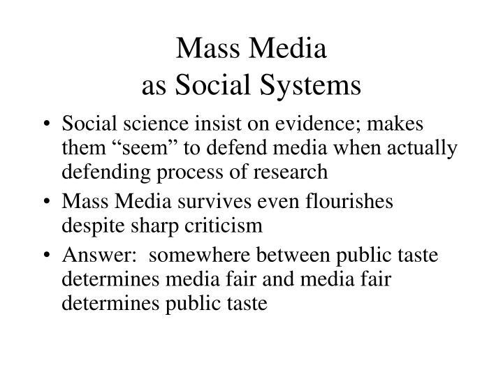 Mass media as social systems