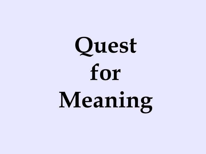quest for meaning n.