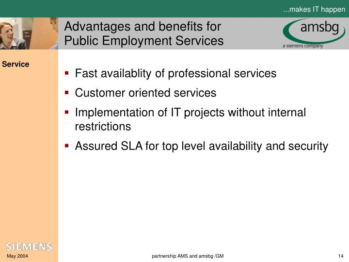 Advantages and benefits for Public Employment Services