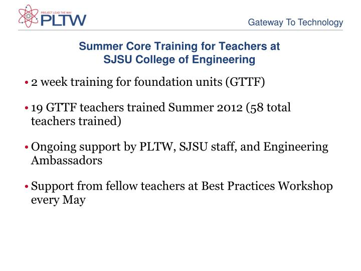 Summer core training for teachers at sjsu college of engineering
