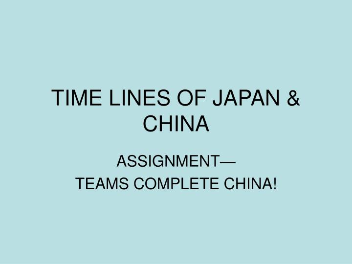 time lines of japan china n.