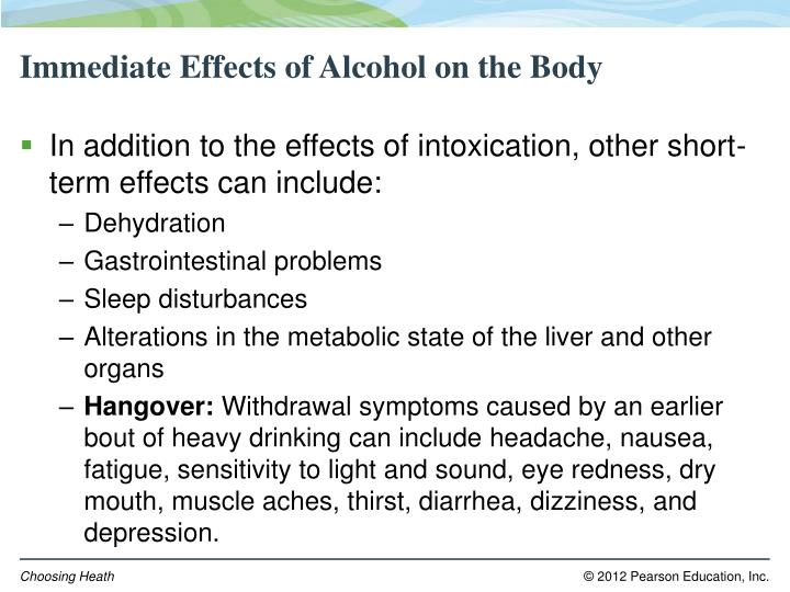 Immediate Effects of Alcohol on the Body