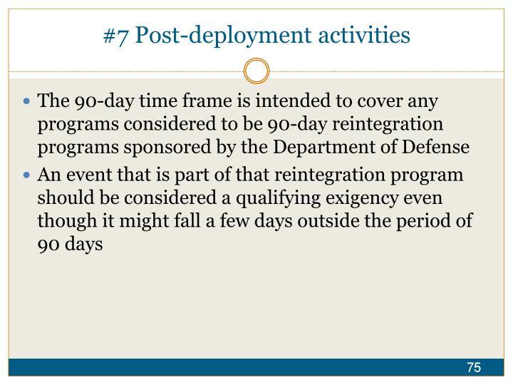 #7 Post-deployment activities