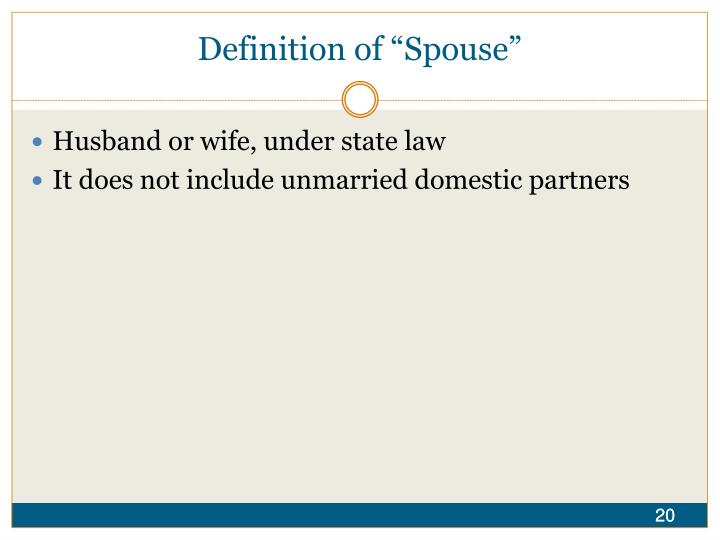 """Definition of """"Spouse"""""""