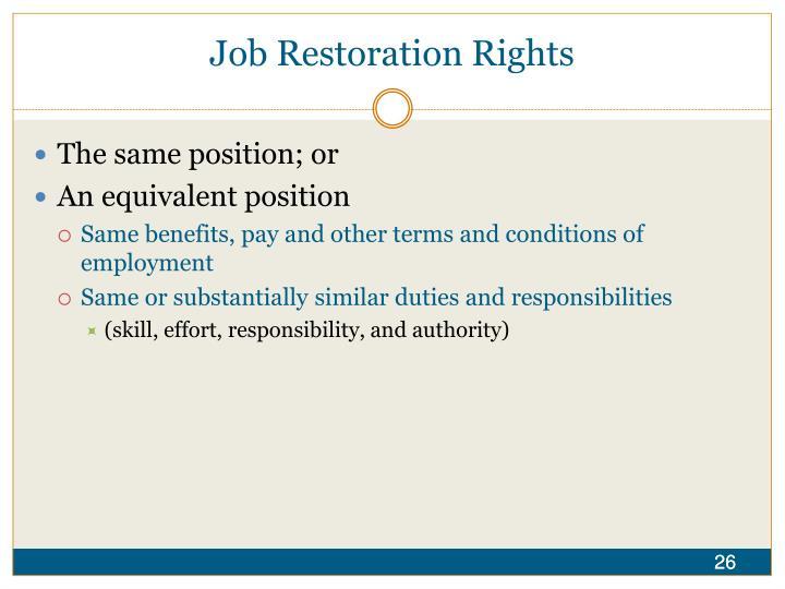 Job Restoration Rights