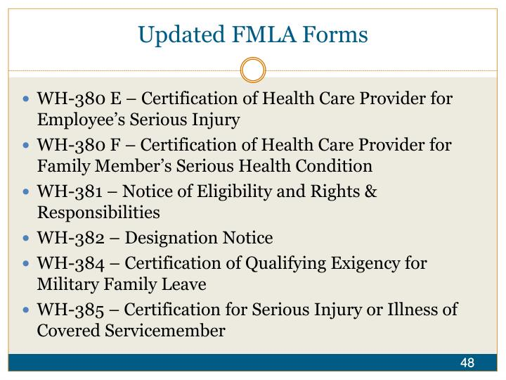 Updated FMLA Forms