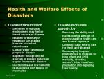 health and welfare effects of disasters