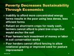 poverty decreases sustainability through economics