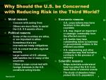 why should the u s be concerned with reducing risk in the third world