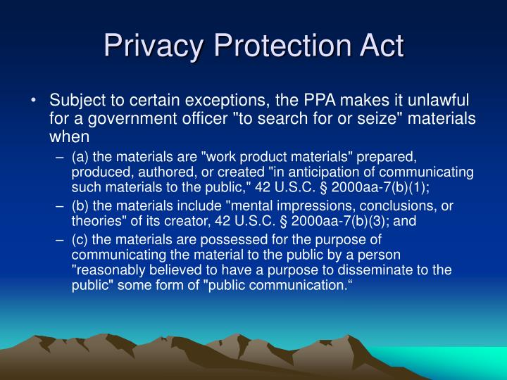 Privacy Protection Act