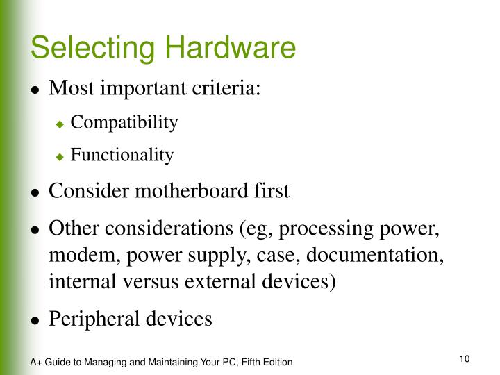 Selecting Hardware