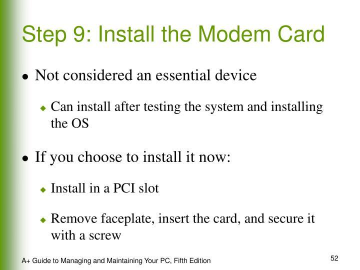 Step 9: Install the Modem Card