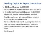 working capital for export transactions