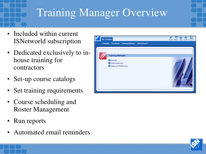 Training Manager Overview