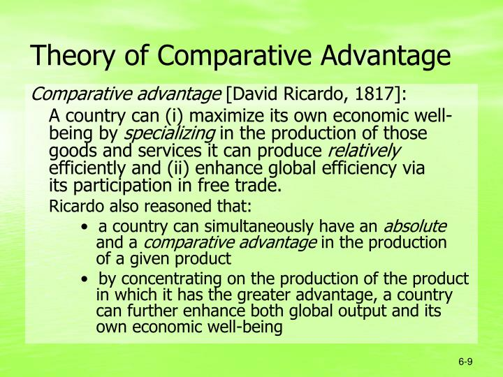 what is the theory of comparative Comparative advantage is when a country produces a good or service for a lower opportunity cost than other countries opportunity cost measures a trade-off a nation with a comparative advantage makes the trade-off worth it.
